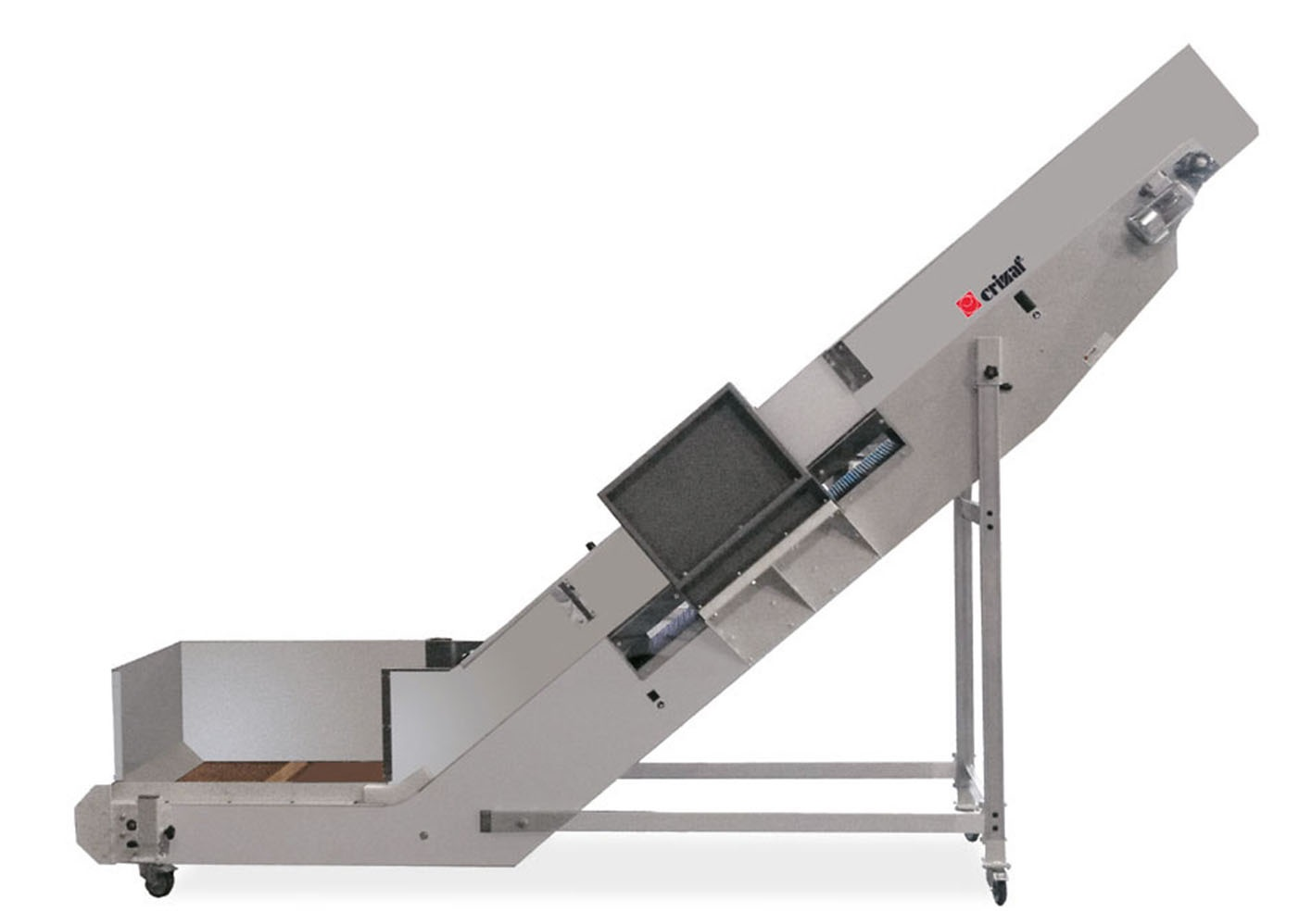 Horizontal incline conveyor m2400 with modular plastic for Frame storage system